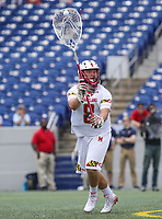 Annapolis, MD - May 20, 2018: Maryland Terrapins Dan Morris (8) makes a pass during the quarterfinal game between Maryland vs Cornell at  Navy-Marine Corps Memorial Stadium in Annapolis, MD.   (Photo by Elliott Brown/Media Images International)