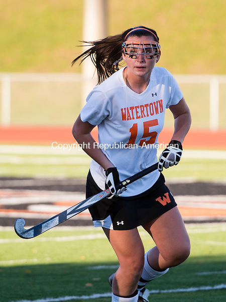 WATERTOWN, CT- 19 October 2015-101915EC04-  Action man. Watertown's Abigail Collier looks up at her coach Monday. Newtown won in Watertown, 4-1. Erin Covey Republican-American