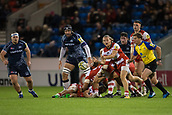 29th September 2017, AJ Bell Stadium, Salford, England; Aviva Premiership Rugby, Sale Sharks versus Gloucester; Gloucester Rugby's Callum Braley clears the ball