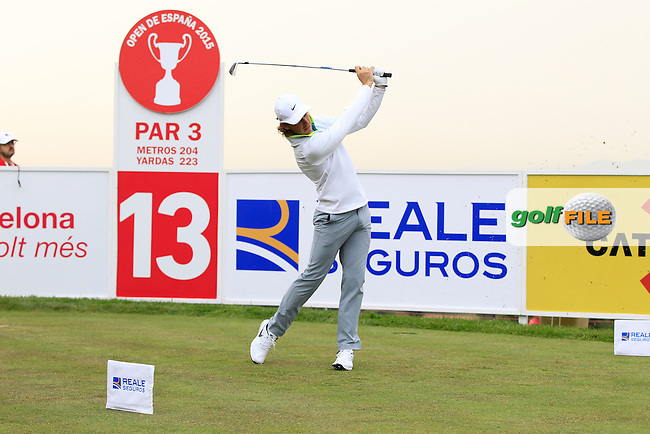 Tommy Fleetwood (ENG) on the 13th tee during Round 1 of the Open de Espana  in Club de Golf el Prat, Barcelona on Thursday 14th May 2015.<br /> Picture:  Thos Caffrey / www.golffile.ie