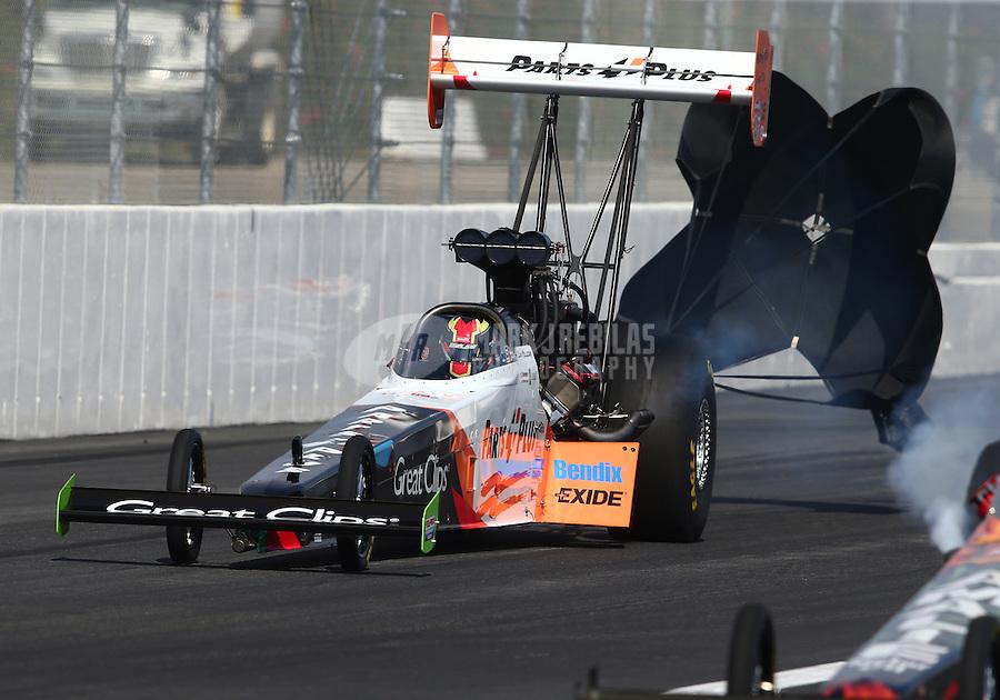 Feb 7, 2015; Pomona, CA, USA; NHRA top fuel driver Clay Millican during qualifying for the Winternationals at Auto Club Raceway at Pomona. Mandatory Credit: Mark J. Rebilas-