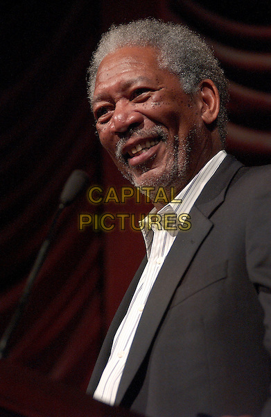 MORGAN FREEMAN.The 10th Annual American Music Masters paying tribute to the late Sam Cooke presented by the Rock and Roll Hall of Fame and Case Western Reserve University held at the State Theatre, Playhouse Square. Cleveland, Ohio..USA, United States..5th November 2005.Ref: ADM/JN.half length speech speaking tribute smiling stubble white beard freckles microphone .www.capitalpictures.com.sales@capitalpictures.com.© Capital Pictures....