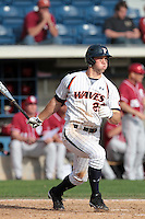 Aaron Brown (20) of the Pepperdine Waves bats during a game against the Oklahoma Sooners at Eddy D. Field Stadium on February 18, 2012 in Malibu,California. Pepperdine defeated Oklahoma 10-0.(Larry Goren/Four Seam Images)