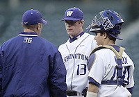 03 April 2009:   Washington starting pitcher Aaron West talks with assistant coach #36 Tighe Dickson and catcher #44 Brett Wilcox on the mound against Arizona State at Safeco Field in Seattle, WA.  Arizona State won 3-1 over Washington.