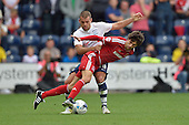 09/08/2015 Sky Bet League Championship Preston North End v Middlesbrough <br /> John Welsh tackles Diego Fabrini