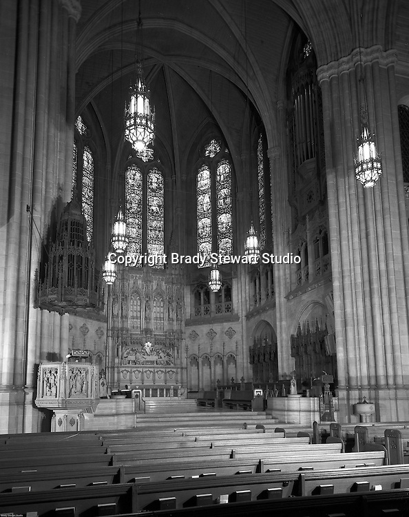 East Liberty Presbyterian Church:  View of the Chancel which includes the alter.  Brady Stewart Jr photographed the interior and exterior of the church in 1976. The photographs were used to illustrate The Art and Architecture of the East Liberty Presbyterian Church - published in 1977. The church was completed in 1935 and was a gift from Mr and Mrs Richard Beatty Mellon, a grandson of the original donors of the property where the church had its first site.
