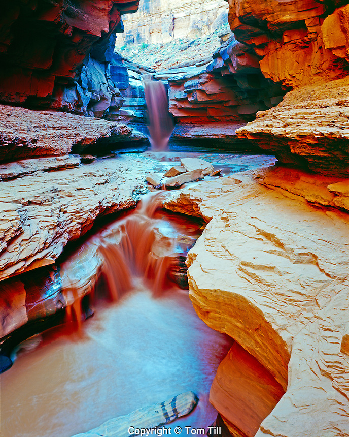 Indian Creek Falls, Canyonlands National Park, Utah, near Colorado river in Meander Canyon, flashflood, runoff