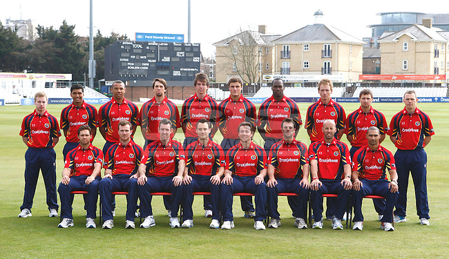 Chelmsford, ENGLAND - April 03: .The Essex team poses for a team photo in Clydesdale Bank 40 Kit.poses for a portrait during the Essex CCC photocall. at The Ford County Ground, Chelmsford, Essex.Chelmsford, ENGLAND - April 03: .Photo MANDATORY by-line: Kieran Galvin / IPS.Copyright:  Address: Thatched Cottage,Wretham,.Thetford, Norfolk IP24 1RH Office tel: 01953 499 403.................