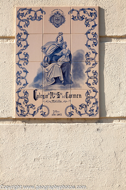 Close up of ceramic tiles sign for Lasalle de Carmen college, Melilla autonomous city state Spanish territory in north Africa, Spain