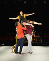 Ipswich, UK. 15.02.2014. Luca Silvestrini's PROTEIN present BORDER TALES at Dance East, Jerwood DanceHouse. Picture shows:  Eryck Brahmania, Kenny Wing Tao Ho, Femi Oyewole and YuYu Rau (aloft). Photograph © Jane Hobson.