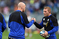 Matt Garvey and Sam Underhill of Bath Rugby. Gallagher Premiership match, between Bath Rugby and Gloucester Rugby on September 8, 2018 at the Recreation Ground in Bath, England. Photo by: Patrick Khachfe / Onside Images