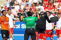 England goalie George Pinner appeals to match umpire over a ruling during the Hockey World League Semi-Final Pool A match between England and Malaysia at the Olympic Park, London, England on 17 June 2017. Photo by Steve McCarthy.