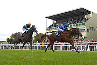 Winner of The Gift Of Sight Appeal EBF Novice Stakes Div 2 Global Hero ridden by Hector Crouch and trained by Saeed bin Suroor during the Bathwick Tyres & EBF Race Day at Salisbury Racecourse on 6th September 2018
