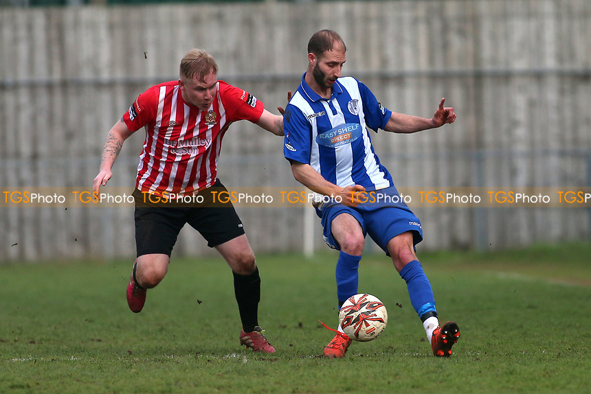 Teddy Nesbitt of Hornchurch and Gareth Price of Ware during Ware vs AFC Hornchurch, Ryman League Division 1 North Football at Wodson Park on 11th March 2017