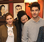 Katharine McPhee, Ben Thompson, Drew Gehling attend the Sardi's Portrait unveiling for Sara Bareilles  at Sardi's Restaurant on April 3, 2018 in New York City.