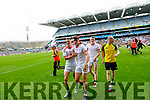 Jonathan Lyne, Jason Foley, and Sean O'Shea, Kerry celebrate after the All Ireland Senior Football Semi Final between Kerry and Tyrone at Croke Park, Dublin on Sunday.