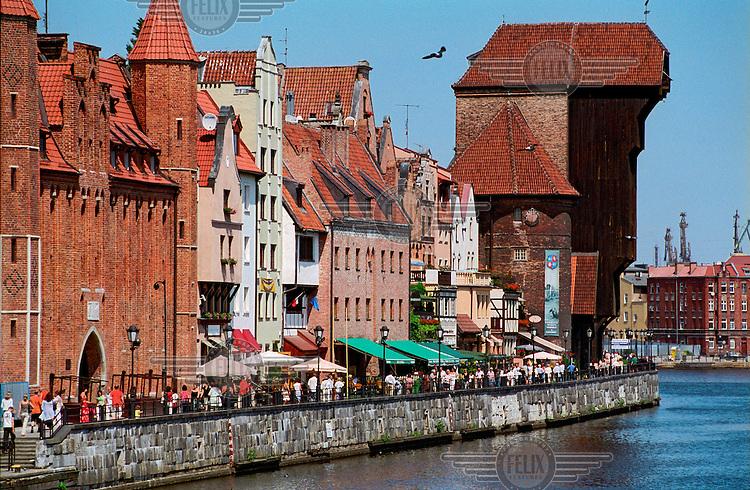 The medieval port crane on Motlawa River, the landmark of the old Hanseatic harbour