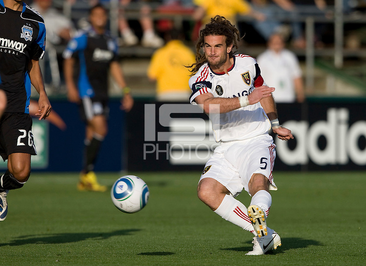 Kyle Beckerman of Salt Lake hits the ball during the game against the Earthquakes at Buck Shaw Stadium in Santa Clara, California on March 27th, 2010.  Real Salt Lake defeated San Jose Earthquakes, 3-0.