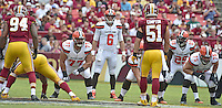 Cleveland Browns quarterback Cody Kessler (6) looks over the Washington Redskins defense during second quarter action at FedEx Field in Landover, Maryland on October 2, 2016. Pictured from left to right: Washington Redskins outside linebacker Preston Smith (94); Cleveland Browns guard John Greco (77), Kessler; Washington Redskins inside linebacker Will Compton (51); Cleveland Browns running back Duke Johnson (29), and Cleveland Browns guard Joel Bitonio (75).  The Redskins won the game 31 - 20.<br /> Credit: Ron Sachs / CNP /MediaPunch ***EDITORIAL USE ONLY***