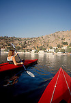 Crete, Greece, Sea kayakers, Crete's SW coast, approaching breakfast in Loutro, Sea, Europe, Sarah Shannon, released,.