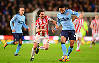 Joe Allen of Stoke in action with Jamaal Lascelles of Newcastle during the EPL - Premier League match between Stoke City and Newcastle United at the Britannia Stadium, Stoke-on-Trent, England on 1 January 2018. Photo by Bradley Collyer / PRiME Media Images.