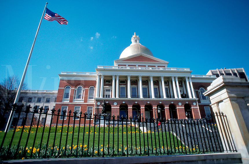 Massachusetts State Capitol Building exterior. Boston, Massachusetts.