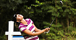 Madeleine Holmblad reacts after hitting the ball on the 12th tee during Alliance Bank Golf Classic in Syracuse NY.