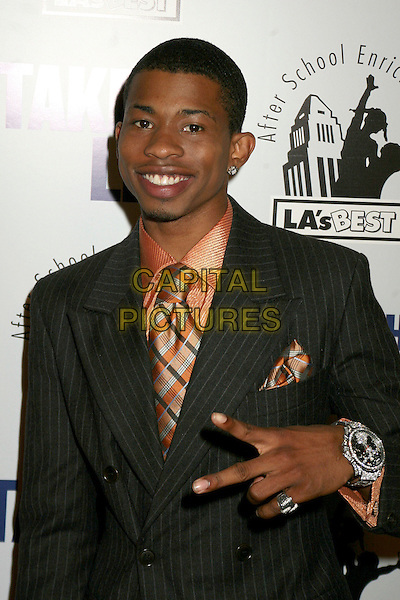 "MARCUS T. PAULK.Los Angeles Screening of ""Take The Lead"", Hollywood, California, USA..March 23rd, 2006.Photo: Byron Purvis/AdMedia/Capital Pictures.Ref: BP/ADM.headshot portrait v peace sign hand gesture watch.www.capitalpictures.com.sales@capitalpictures.com.© Capital Pictures."