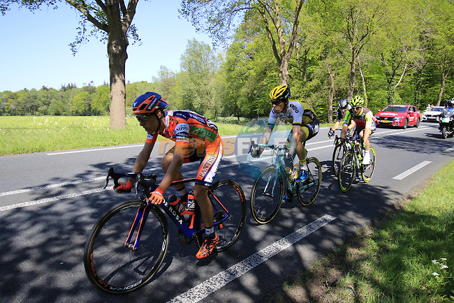 The breakaway group Giacomo Berlato (ITA) Nippo Vini Fantini, Julen Amezqueta (ESP) Wilier Triestina-Southeast, Maarten Tjallingii (NED) Lotto NL-Jumbo and Johann Van Zyl (RSA) Dimension Data in action during Stage 3 of the 2016 Giro d'Italia running 190km from Nijmegen to Arnhem, The Nethrerlands. 8th May 2016.<br /> Picture: Eoin Clarke   Newsfile<br /> <br /> <br /> All photos usage must carry mandatory copyright credit (&copy; Newsfile   Eoin Clarke)