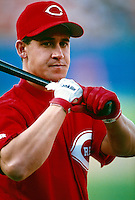 Bret Boone of the Cincinnati Reds during a game at Dodger Stadium in Los Angeles, California during the 1997 season.(Larry Goren/Four Seam Images)