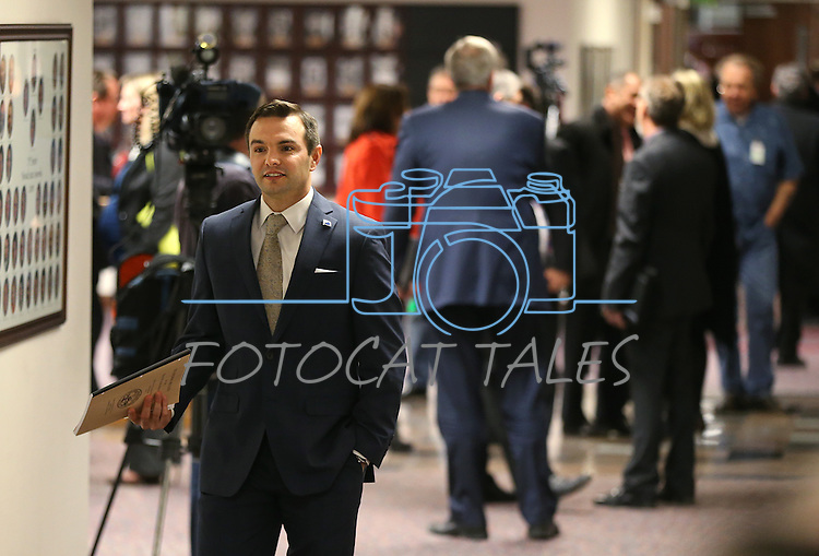 Nevada Assemblyman Derek Armstrong, R-Las Vegas, heads into the Assembly chambers at the Legislative Building in Carson City, Nev., on Wednesday, Dec. 16, 2015. Gov. Brian Sandoval called lawmakers into a special session Wednesday to consider a package of tax incentives to bring the startup electric car manufacturer Faraday Future to Southern Nevada.  (Cathleen Allison/Las Vegas Review-Journal)