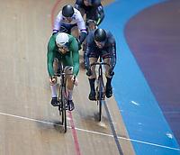 26th January 2020; National Cycling Centre, Manchester, Lancashire, England; HSBC British Cycling Track Championships;  Men's keirin final, Joseph Truman in green beats Matt Roper in black to take gold