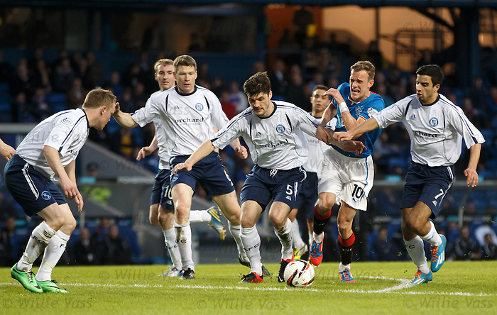 Dean Shiels heavily outnumbered by Forfar defenders