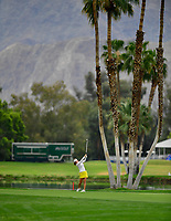So Yeon Ryu of Korea hits her 3rd shot from the 18th fairway, during the final round of the ANA Inspiration at the Mission Hills Country Club in Palm Desert, California, USA. 4/1/18.<br /> <br /> Picture: Golffile | Bruce Sherwood<br /> <br /> <br /> All photo usage must carry mandatory copyright credit (&copy; Golffile | Bruce Sherwood)
