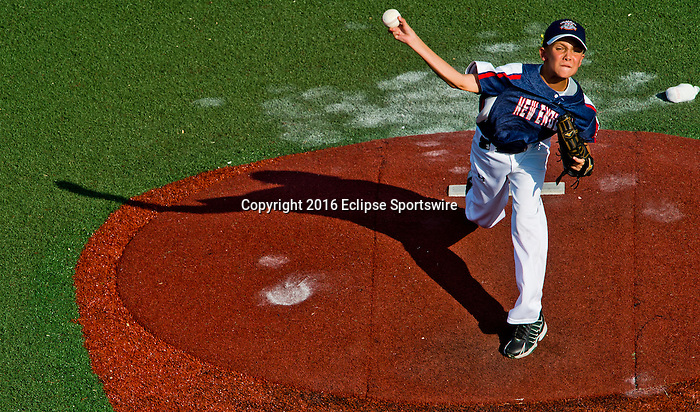 ABERDEEN, MD - AUGUST 02: Braydon Stellato #5 of New Milford (CT) pitches in a game between New England and Midwest Plains during the Cal Ripken World Series at The Ripken Experience Powered by Under Armour on August 2, 2016 in Aberdeen, Maryland. (Photo by Ripken Baseball/Eclipse Sportswire/Getty Images)
