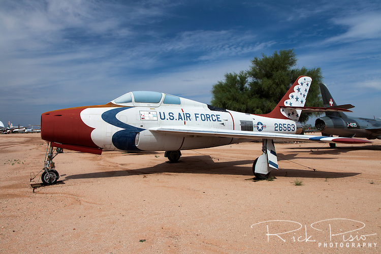 Republic F-84F Thunderstreak fighter in Thunderbirds colors on display at Pima Air and Space Museum in Tucson, Arizona.