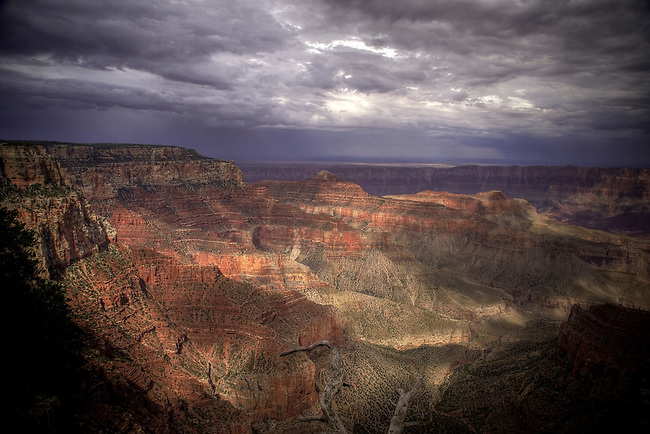 Storms pass over the North Rim of the Grand Canyon at Grand Canyon National Park, Arizona