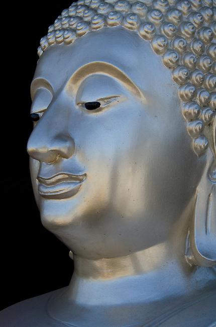 Silver Sukhothai style Buddha head statue