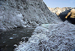 River Pitiao, Snow and Frost covered, Wolong Research and Conservation Centre for Giant Panda, Sichuan (Szechwan) Province Central China, reserve, breeding centre, asia, asian, chinese, .China....