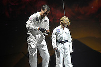 LONDON, ENGLAND - OCTOBER 6: Bear Grylls and Huckleberry performing at 'Bear Grylls: Endeavour' performing at SSE Arena on October 6, 2016 in London, England.<br /> CAP/MAR<br /> &copy;MAR/Capital Pictures /MediaPunch ***NORTH AND SOUTH AMERICAS ONLY***