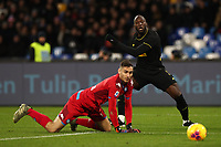 Alex Meret of Napoli and Romelu Lukaku of Inter compete for the ball<br /> Napoli 06-01-2020 Stadio San Paolo <br /> Football Serie A 2019/2020 <br /> SSC Napoli - FC Internazionale<br /> Photo Cesare Purini / Insidefoto
