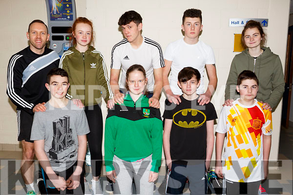Listowel school attending the Spike Ball blitz at the Tralee Sports Complex on Thursday last, front l to r, Dylan Sloane, Nadine Maloney, Killian Feely, Darragh Mulvihill. Standing l to r, Graig Parker, Katelyn. Flynn, Michael Falvey, Blake Evans and Diane Maloney