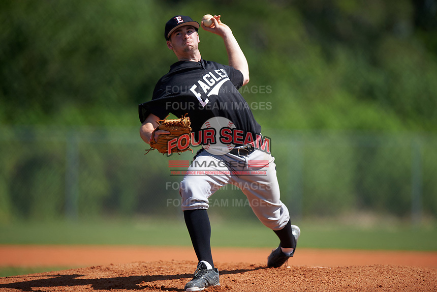 Edgewood Eagles pitcher Mason Maziarka (44) during the second game of a doubleheader against the Plymouth State Panthers on April 17, 2016 at Lee County Player Development Complex in Fort Myers, Florida.  Plymouth State defeated Edgewood 16-3.  (Mike Janes/Four Seam Images)