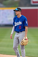 Rancho Cucamonga Quakes first baseman Devin Mann (33) during a California League game against the Visalia Rawhide on April 8, 2019 in Visalia, California. Rancho Cucamonga defeated Visalia 4-1. (Zachary Lucy/Four Seam Images)