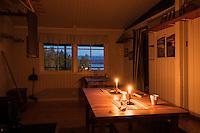 Candles illumite room at Aktse hut, Kungsleden trail, Lapland, Sweden