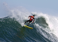 Anthony Tashnick during the fourth heat of the 2008 Mavericks contest held at Pillar Point, Half Moon Bay, Calif., Saturday, January 12, 2008.