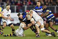 Max Lahiff of Bath Rugby takes on the Wasps defence. Aviva Premiership match, between Bath Rugby and Wasps on December 29, 2017 at the Recreation Ground in Bath, England. Photo by: Patrick Khachfe / Onside Images