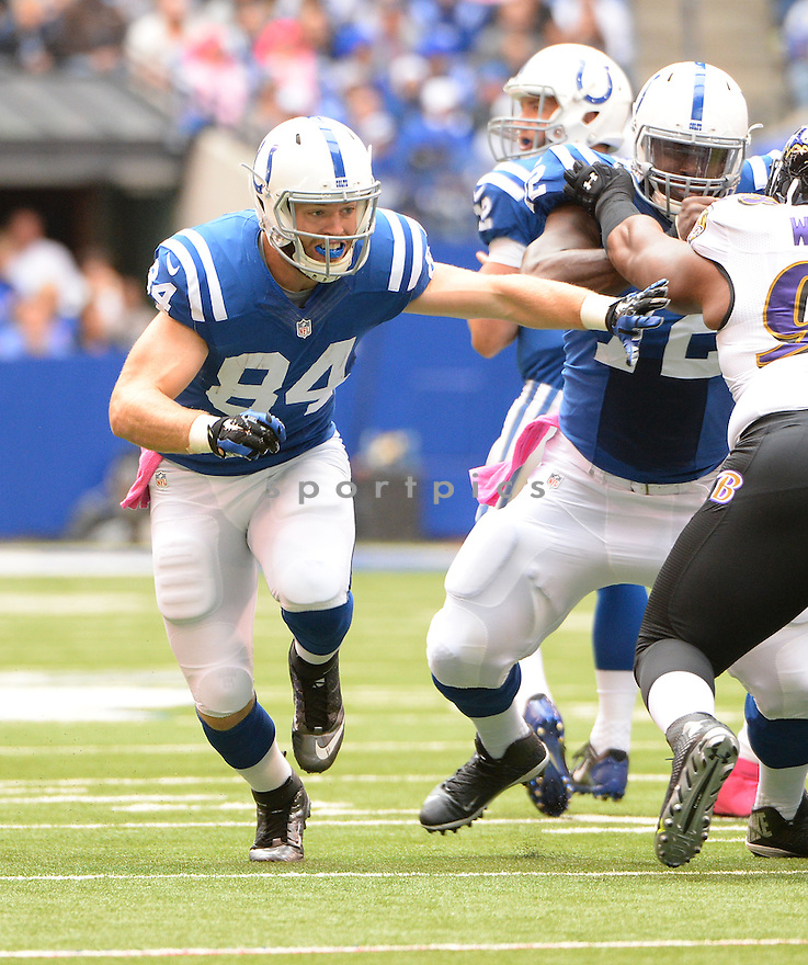 Indianapolis Colts Jack Doyle (84) during a game against the Baltimore Ravens on October 5, 2014 at Lucas Oil Stadium in Indianapolis, IN. The Colts beat the Ravens 20-13.