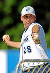 30 June 2007: Vermont Lake Monsters pitching coach Rusty Meacham throws batting practice prior to a game against the Lowell Spinners at Historic Centennial Field in Burlington, Vermont. The Spinners defeated the Lake Monsters 8-4 in the last game of their 3-game, NY Penn-League series...Mandatory Photo Credit: Ed Wolfstein Photo