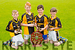 Overall team winners Abbeydorney Michael O'Sullivan, Mikey Clifford, Oisin Maunsell, Caoimhe Spillane  Pictured at the Coiste Na Nóg Primary Schools hurling Skills finals at Austin Stack Park Tralee on Tuesday